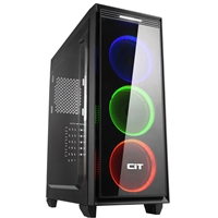 Cit Halo Mid Tower 1 X Usb 3.0 / 1 X Usb 2.0 Side Window Panel Black Case With Rgb Led Fans Cit-halo-mid - Tgt01