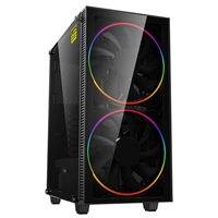 Game Max Black Hole Mid Tower 1 X Usb 3.0 / 1 X Usb 2.0 Tempered Glass Side Window Panel Black Case With Addressable Rgb Led Fans Gmx-blackhole - Tgt01
