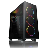 Game Max Crusader Mid Tower 2 X Usb 3.0 / 1 X Usb 2.0 Tempered Glass Side & Front Window Panel Black Case With Game Max Mirage Addressable Rgb Led Fans Crusadermirage - Tgt01