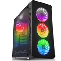 Game Max Moonstone Mid Tower 2 X Usb 3.0 / 2 X Usb 2.0 Tempered Glass Sides & Front Window Panels Black Case With Rgb Led Fans Gmx-moonstone-rgb - Tgt01