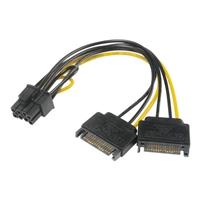 Akasa 6+2 Pin Pcie (m) To 2 X Sata Power (m + M) Adapter Cable Ak-cbpw19-15 - Tgt01