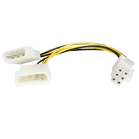 StarTech 2 x 4-pin Molex (M + M) to PCI-Express Power 6-pin (M) 0.15m Retail Packaged Internal Cable