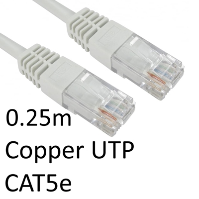 RJ45 (M) to RJ45 (M) CAT5e 0.25m White OEM Moulded Boot Copper U