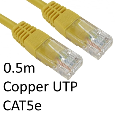 RJ45 (M) to RJ45 (M) CAT5e 0.5m Yellow OEM Moulded Boot Copper U