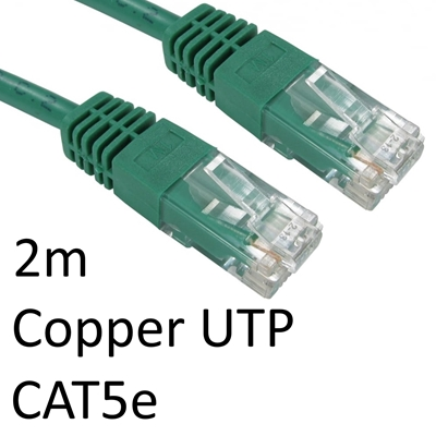 RJ45 (M) to RJ45 (M) CAT5e 2m Green OEM Moulded Boot Copper UTP