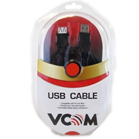 Vcom 2.0 A (m) To Usb 2.0 A (f) 3m Black Retail Packaged Extension Data Cable Cu202-b-3.0 - Tgt01