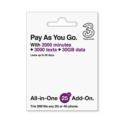 Three All in One SIM 30GB