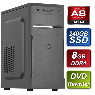 AMD A8 9600 3.10GHz Quad Core 8GB RAM 240GB SSD DVD-RW Prebuilt