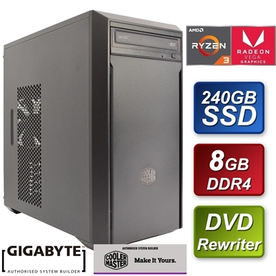 Cooler Master AMD Ryzen 2200G 3.5GHZ Quad Core 8GB DDR4 RAM 240G
