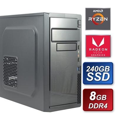 AMD 2200G 3.5GHZ Quad Core 8GB DDR4 RAM 240GB SSD 80 cert PSU wi