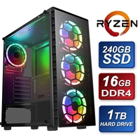 Raider Rgb Amd Ryzen 2600 3.6ghz Six Core 16gb Ram 240gb Ssd + 1tb Hdd With Msi Gtx1650 Graphics + Wireless Card Pre-built System Sbbus-rgb-216a - Tgt01