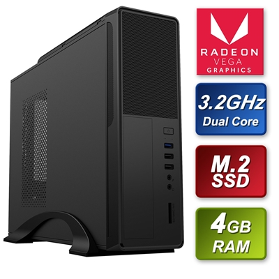 Small Form Factor AMD 200GE 3.2GHz Dual Core 4GB RAM 240GB M.2 S