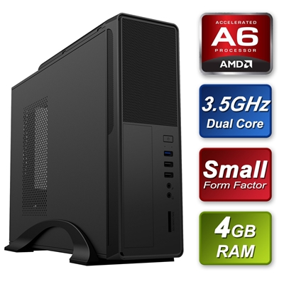Small Form Factor AMD A6-9500 3.5GHz Dual Core 4GB RAM 240GB SSD