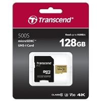 Transcend 128GB Micro SDXC Class 10 UHS-I U3 Flash Card with Adapter
