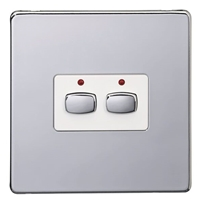 Energenie MIHO072 Energenie MiHome 2-Gang Light Switch Chrome