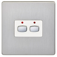 Energenie Mihome  2-gang Light Switch Brushed Steel Miho073 Miho073 - Tgt01