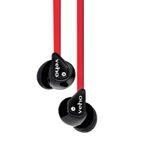 Veho 360 Z-1 Noise Isolating Stereo Earphones with Flat Flex Anti Tangle Cord Red