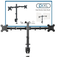 piXL Double Monitor Arm, For Upto 2x 27 inch Monitors, Desk Mounted, VESA dimensions of 75x75mm or 100x100mm, 180 Degrees Swivel, 15 Degrees Tilt, Weight Upto 10kg per screen, Built in Cable Management