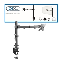 piXL Single Monitor Arm, For Screens Upto 27 inch, Desk Mounted, VESA dimensions of 75x75mm or 100x100mm, 180 Degrees Swivel, 15 Degrees Tilt, Weight Upto 10kg, Built in Cable Management, Black