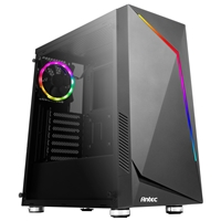 Antec NX300 Mid Tower 1 x USB 3.0 / 2 x USB 2.0 Tempered Glass Side Window Panel Black Case with Addressable RGB LED Fan and Light Strip