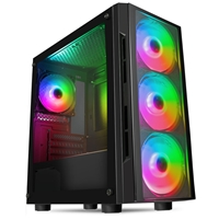 CiT Flash Micro Tower 1 x USB 3.0 / 2 x USB 2.0 Tempered Glass Side & Front Window Panels Black Case with RGB LED Fans
