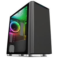 CiT Omega Micro Tower 1 x USB 3.0 / 2 x USB 2.0 Tempered Glass Side Window Panel Black Case with Addressable RGB LED Fan