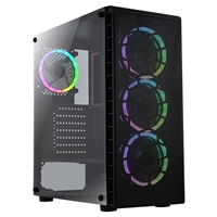 CiT Raider Air Mid Tower 1 x USB 3.0 / 2 x USB 2.0 Tempered Glass Side Window Panel Mesh Front Black Case with Addressable RGB LED Fans