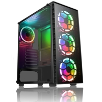 CiT Raider Mid Tower 1 x USB 3.0 / 2 x USB 2.0 Tempered Glass Side & Front Window Panels Black Case with RGB LED Fans