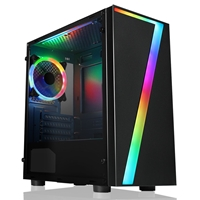 CiT Seven Micro Tower 2 x USB 2.0 Acrylic Side Window Panel Black Case with RGB LED Lighting & Fan
