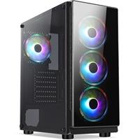 CRONUS Achos Case, Gaming, Black, Mid Tower, 1 x USB 3.0 / 2 x USB 2.0, Tempered Glass Side & Front Window Panels, Addressable RGB LED Fans, ATX, Micro ATX, Mini-ITX