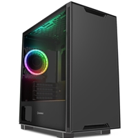GameMax Commando Micro Tower 1 x USB 3.0 / 2 x USB 2.0 Tempered Glass Side Window Panel Black Case with Addressable RGB LED Fan