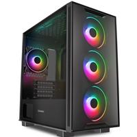 GAMEMAX Commando TG Case, Gaming, Black, Micro Tower, 1 x USB 3.0 / 2 x USB 2.0, Tempered Glass Side & Front Window Panels, Addressable RGB LED Fans, ARGB Fan Hub, Micro ATX, Mini-ITX