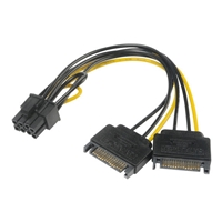 Akasa 6+2 Pin PCIe (M) to 2 x SATA Power (M + M) Adapter Cable