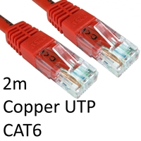 RJ45 (M) to RJ45 (M) CAT6 2m Red OEM Moulded Boot Copper UTP Network Cable