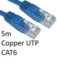 RJ45 (M) to RJ45 (M) CAT6 5m Blue OEM Moulded Boot Copper UTP Network Cable