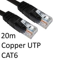 RJ45 (M) to RJ45 (M) CAT6 20m Black OEM Moulded Boot Copper UTP Network Cable