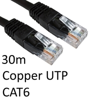 RJ45 (M) to RJ45 (M) CAT6 30m Black OEM Moulded Boot Copper UTP Network Cable