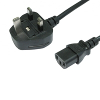 UK Mains to IEC C13 Kettle 1.8m Black OEM Power Cable