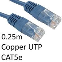 RJ45 (M) to RJ45 (M) CAT5e 0.25m Blue OEM Moulded Boot Copper UTP Network Cable