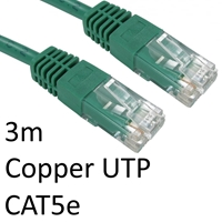 RJ45 (M) to RJ45 (M) CAT5e 3m Green OEM Moulded Boot Copper UTP Network Cable