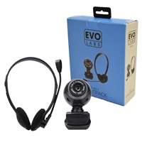 Evo Labs HC-01 Webcam and Headset Chatpack, 640x480, USB 2.0 Webcam with 30fps, photo and video capture, 3.5mm Headset with V0olume Control and Adjustable Microphone