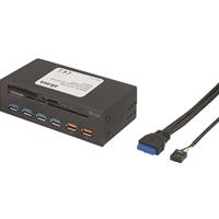 "Akasa InterConnect EX 5.25"" Internal 5-Slot USB 3.0 and Memory Card with 2 Fast Charging Ports Card Reader"