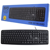 Evo Labs KD-101LUK Wired Keyboard, USB Plug and Play, Full Size, Qwerty UK Layout, Ideal for Home or Office, Black