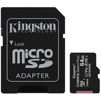 Kingston Canvas Select Plus 64GB Micro SD UHS-I (U1) Flash Card with Adapter