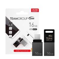 Team M151 16GB Dual OTG USB 2.0 and Micro USB Blk / Silver Flash drive