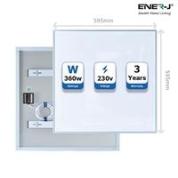 ENER-J Infrared Heating Panel, White Body, 360W, 595 x 595 x 22, UK mains plug