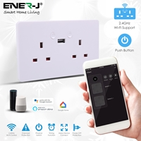 ENER-J Smart WiFi 13A Twin Wall Sockets with single USB and push power buttons
