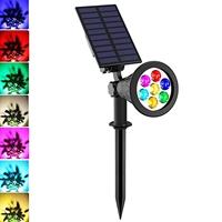 ENER-J 7W Solar Spike Garden Light, 1800 mAh battery, 5.5V 1.5W Solar Panel, RGB