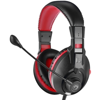 Marvo Scorpion H8321S Gaming Headset, Stereo Sound, Flexable Omnidirectional Microphone, 40mm Audio Drivers, On-ear Volume Control, 3.5mm Connection, Black and Red